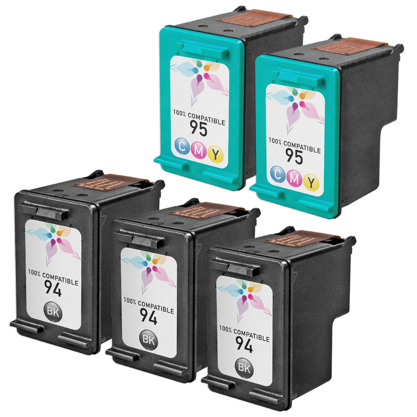 Remanufactured Bulk Set of 5 Ink Cartridges to Replace HP 94 & HP 95 (3 BK, 2 CLR)