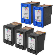 Remanufactured Replacement Bulk Set of 5 Ink Cartridges for HP 56 & HP 57 - 3 Black (C6656WN) and 2 Color (C6657WN)