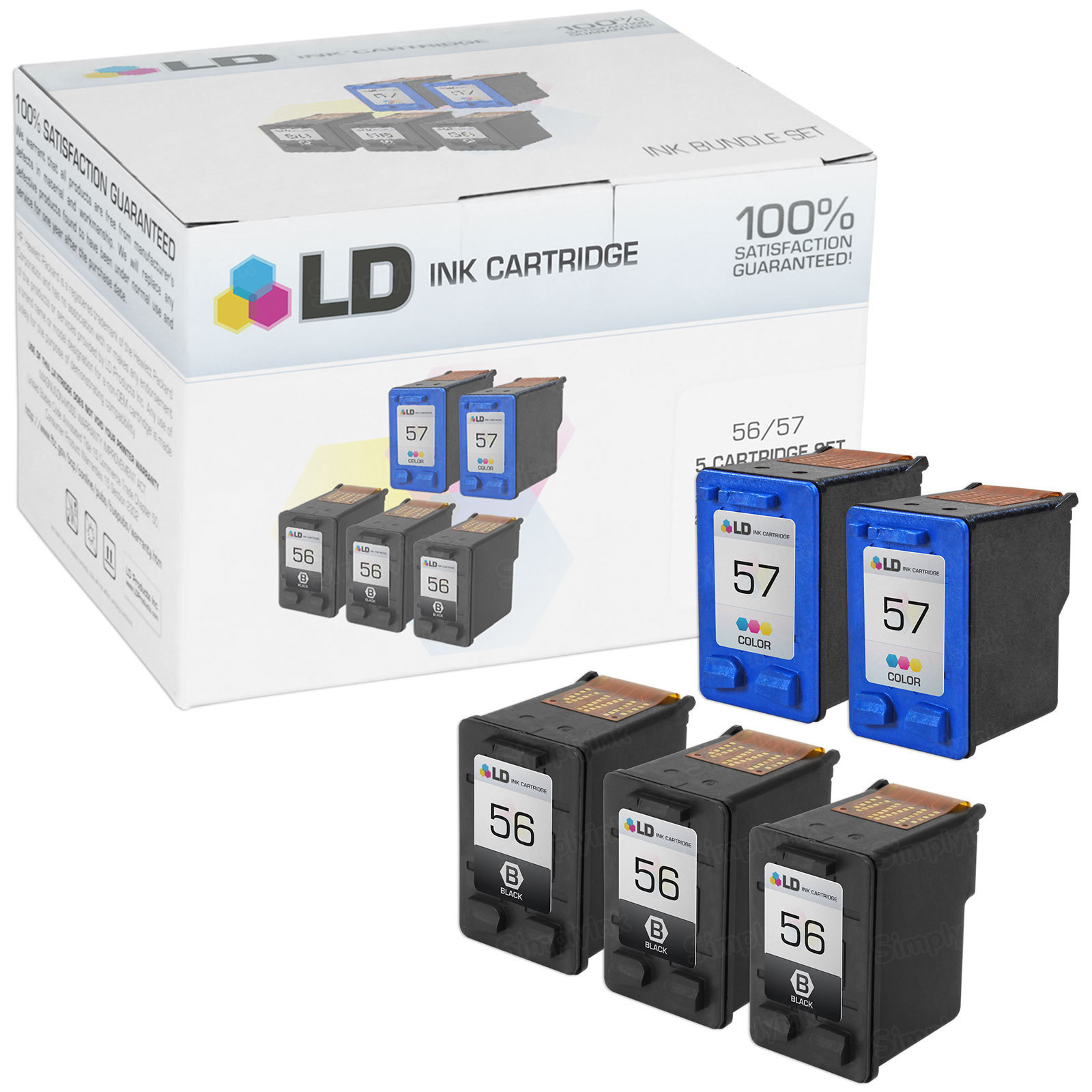 Remanufactured Bulk Set of 5 Ink Cartridges to Replace HP 56 & HP 57 (3 BK, 2 CLR)