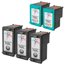 Remanufactured Replacement Bulk Set of 5 Ink Cartridges for HP 74XL & HP 75XL - 3 Black (CB336WN) and 2 Color (CB338WN)