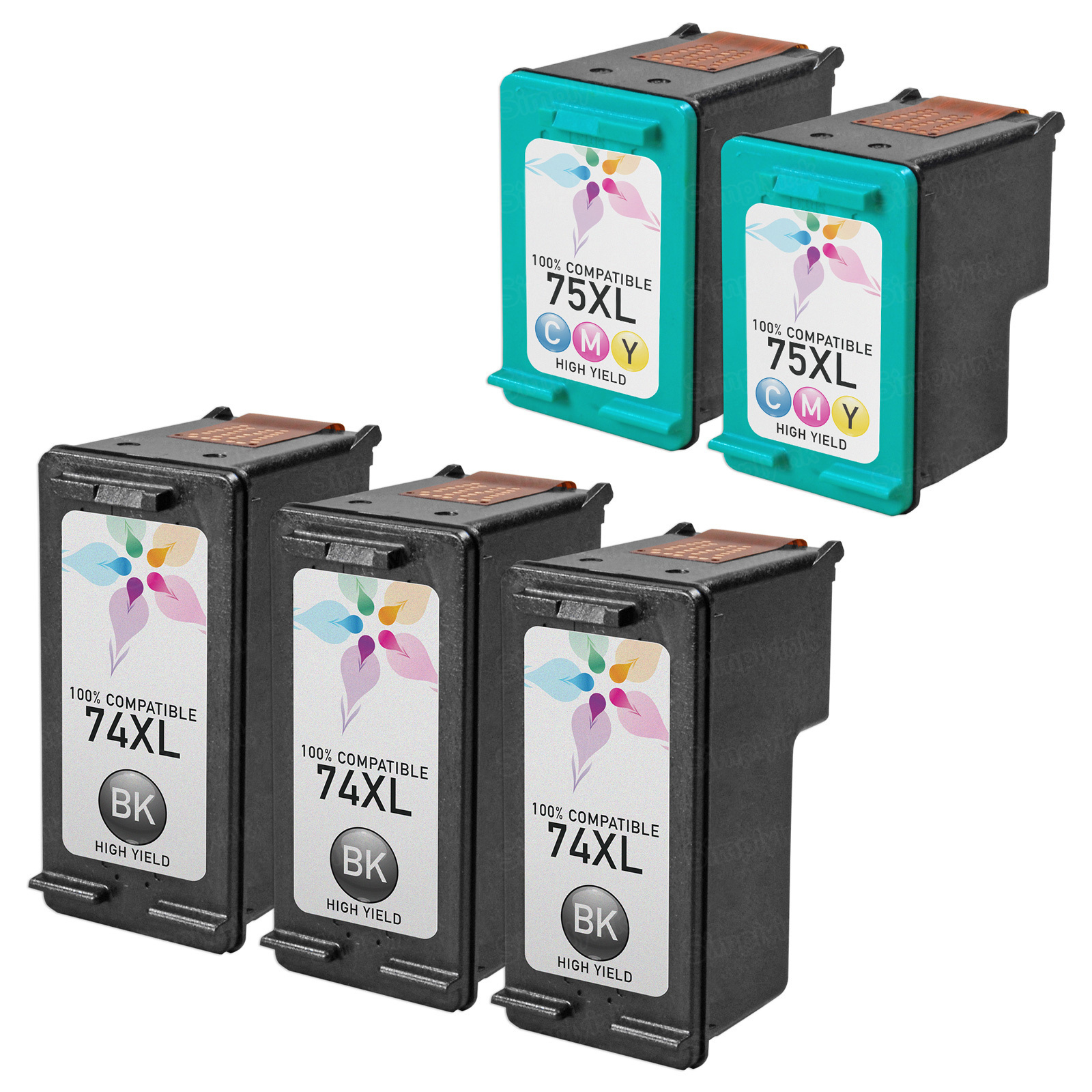 Remanufactured Bulk Set of 5 Ink Cartridges to Replace HP 74XL & HP 75XL (3 BK, 2 CLR)
