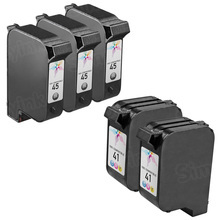 Remanufactured Replacement Bulk Set of 5 Ink Cartridges for HP 45 & HP 41 - 3 Black (51645A) and 2 Color (51641A)