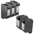 Remanufactured Bulk Set of 5 Ink Cartridges to Replace HP 45 & HP 41 (3 BK, 2 CLR)