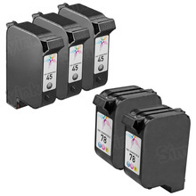 Remanufactured Replacement Bulk Set of 5 Ink Cartridges for HP 45 & HP 78 - 3 Black (51645A) and 2 Color (C6578D)