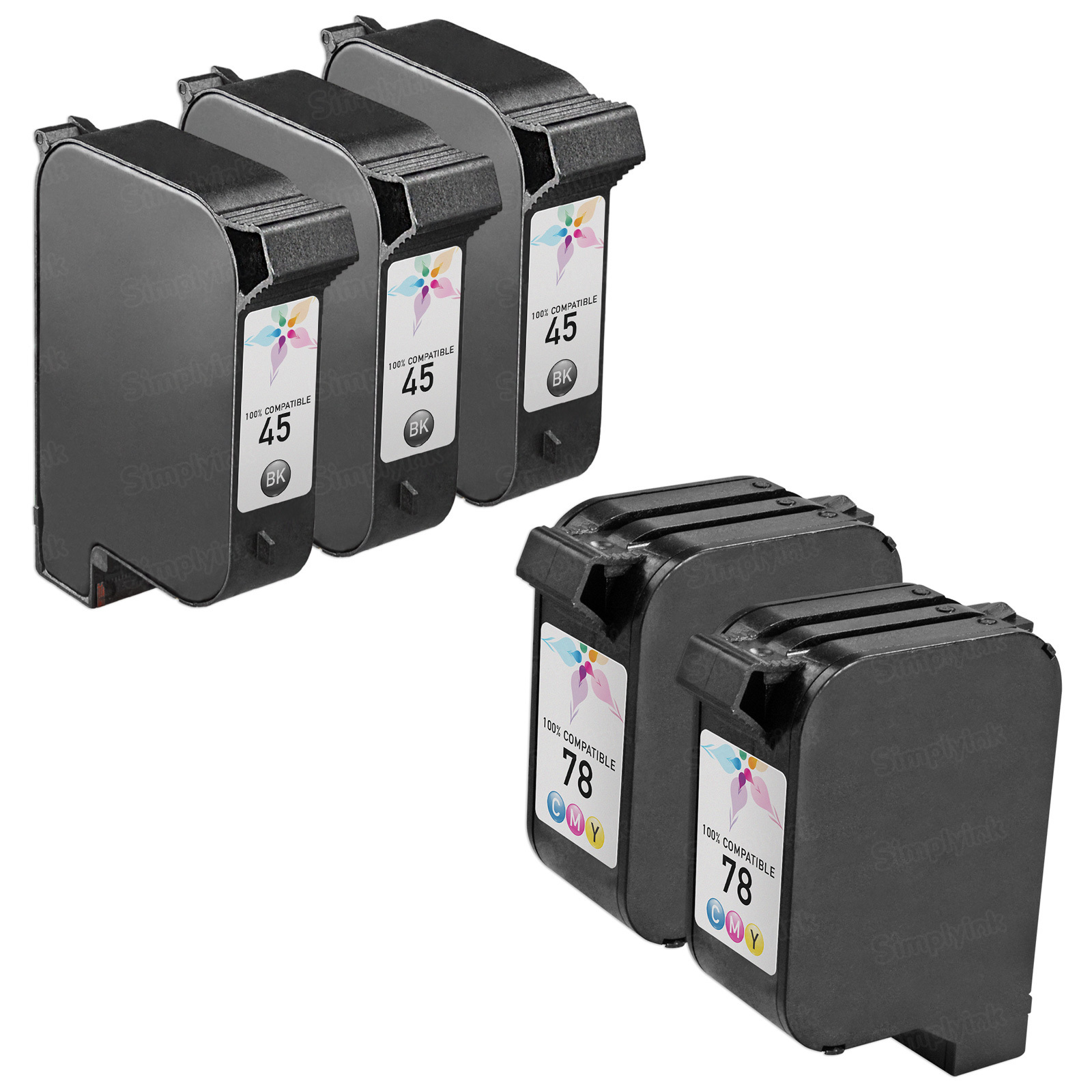 Remanufactured Bulk Set of 5 Ink Cartridges to Replace HP 45 & HP 78 (3 BK, 2 CLR)