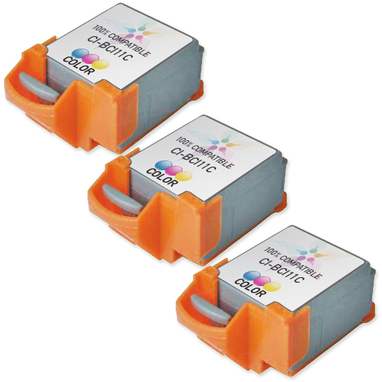Canon Compatible BCI11Clr Color Set of 3 Ink
