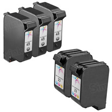 Remanufactured Replacement Bulk Set of 5 Ink Cartridges for HP 45 & HP 23 - 3 Black (51645A) and 2 Color (C1823D)