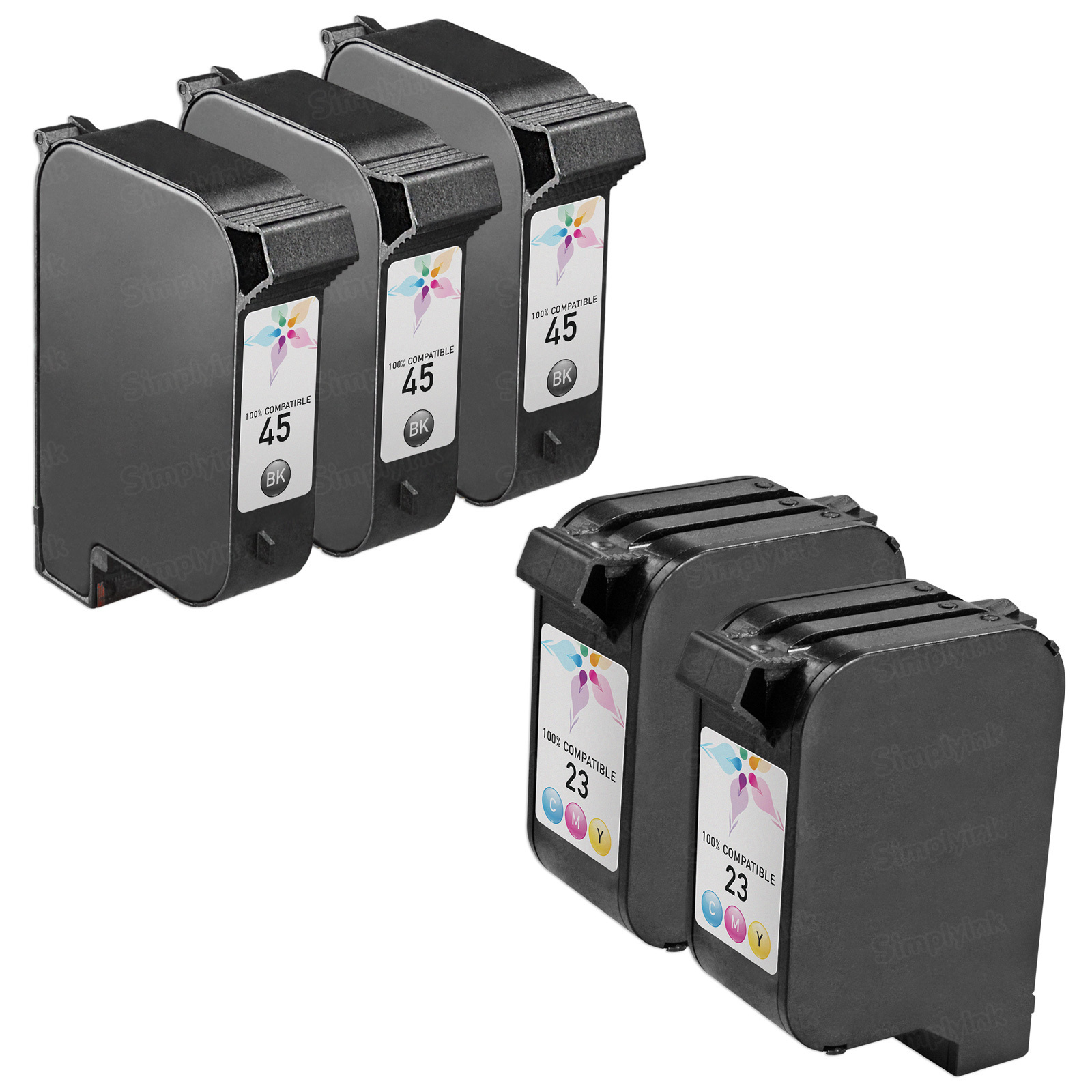 Remanufactured Bulk Set of 5 Ink Cartridges to Replace HP 45 & HP 23 (3 BK, 2 CLR)