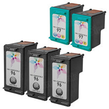 Remanufactured Replacement Bulk Set of 5 Ink Cartridges for HP 96 & HP 97 - 3 Black (C8767WN) and 2 Color (C9363WN)