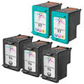 Remanufactured Bulk Set of 5 Ink Cartridges to Replace HP 94 & HP 97 (3 BK, 2 CLR)