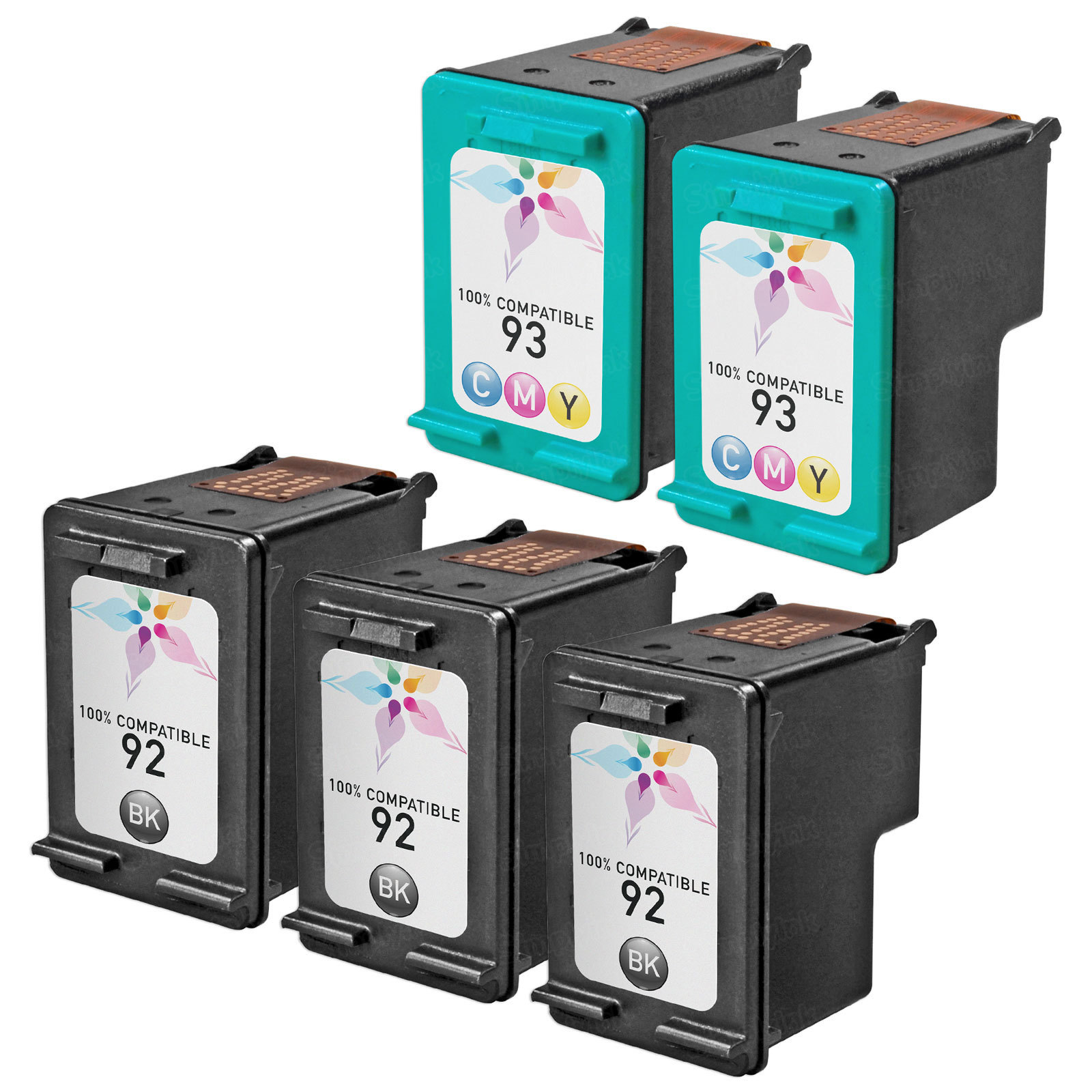 Remanufactured Bulk Set of 5 Ink Cartridges to Replace HP 92 & HP 93 (3 BK, 2 CLR)
