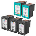 Remanufactured Bulk Set of 5 Ink Cartridges to Replace HP 92 & HP 95 (3 BK, 2 CLR)
