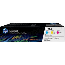 HP 126A (CF341A) Cyan, Magenta, Yellow Original Toner Cartridge in Retail Packaging