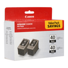 Canon PG-40 Black OEM High-Yield Ink Cartridge 2-Pack, 0615B013
