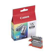 Canon BCI-15BK Black OEM Ink Cartridge 2-Pack, 8190A003