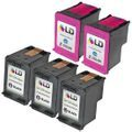 Inkjet Supplies for Hewlett Packard (HP) Printers - Remanufactured Bulk Set of 5 Ink Cartridges 3 Black HP 60 (CC640WN) and 2 Color HP 60XL (CC644WN)