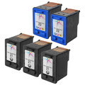 Remanufactured Bulk Set of 5 Ink Cartridges to Replace HP 21 & HP 22 (3 BK, 2 CLR)