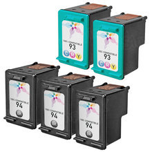 Remanufactured Replacement Bulk Set of 5 Ink Cartridges for HP 94 & HP 93 - 3 Black (C8765WN) and 2 Color (C9361WN)