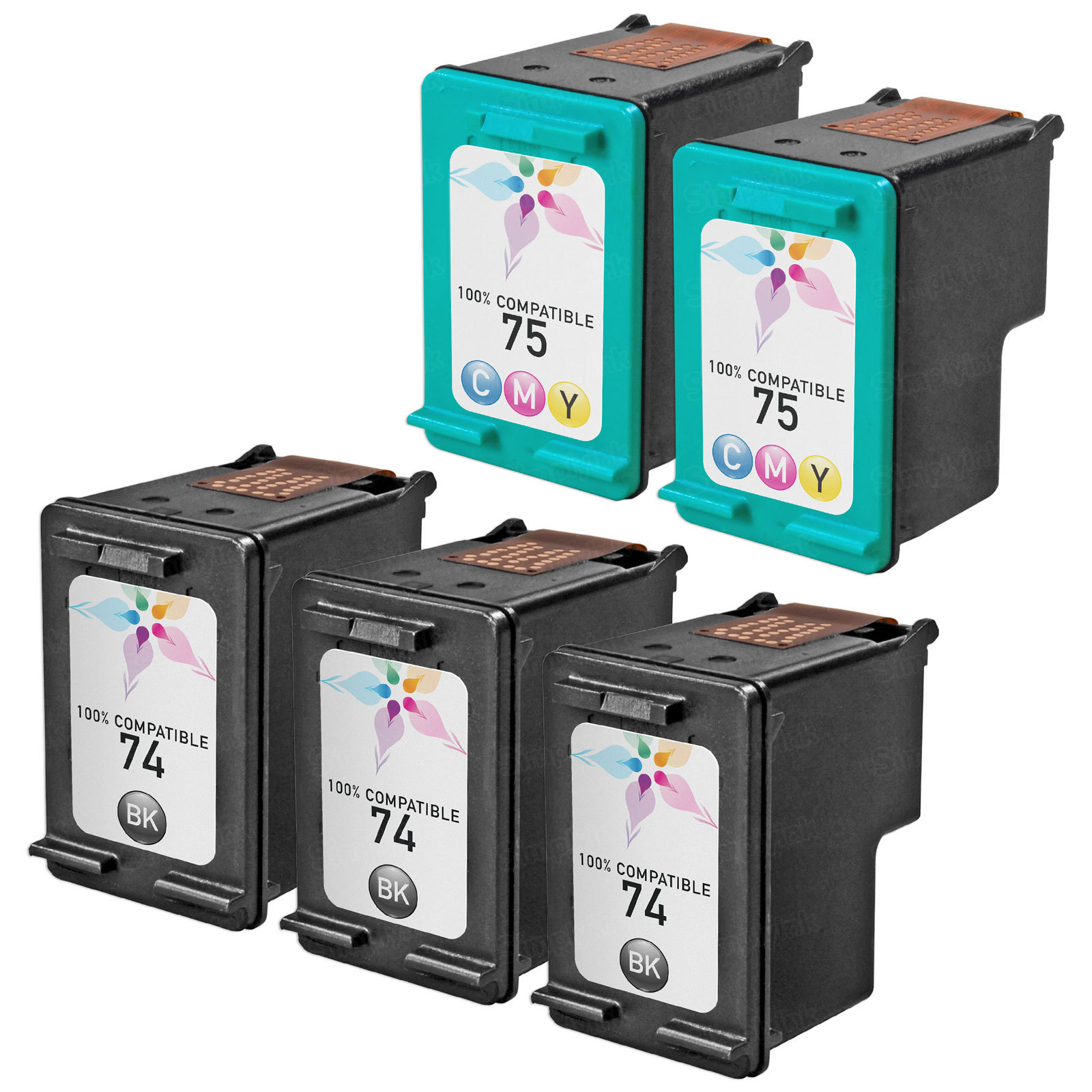 Remanufactured Bulk Set of 5 Ink Cartridges to Replace HP 74 & HP 75 (3 BK, 2 CLR)