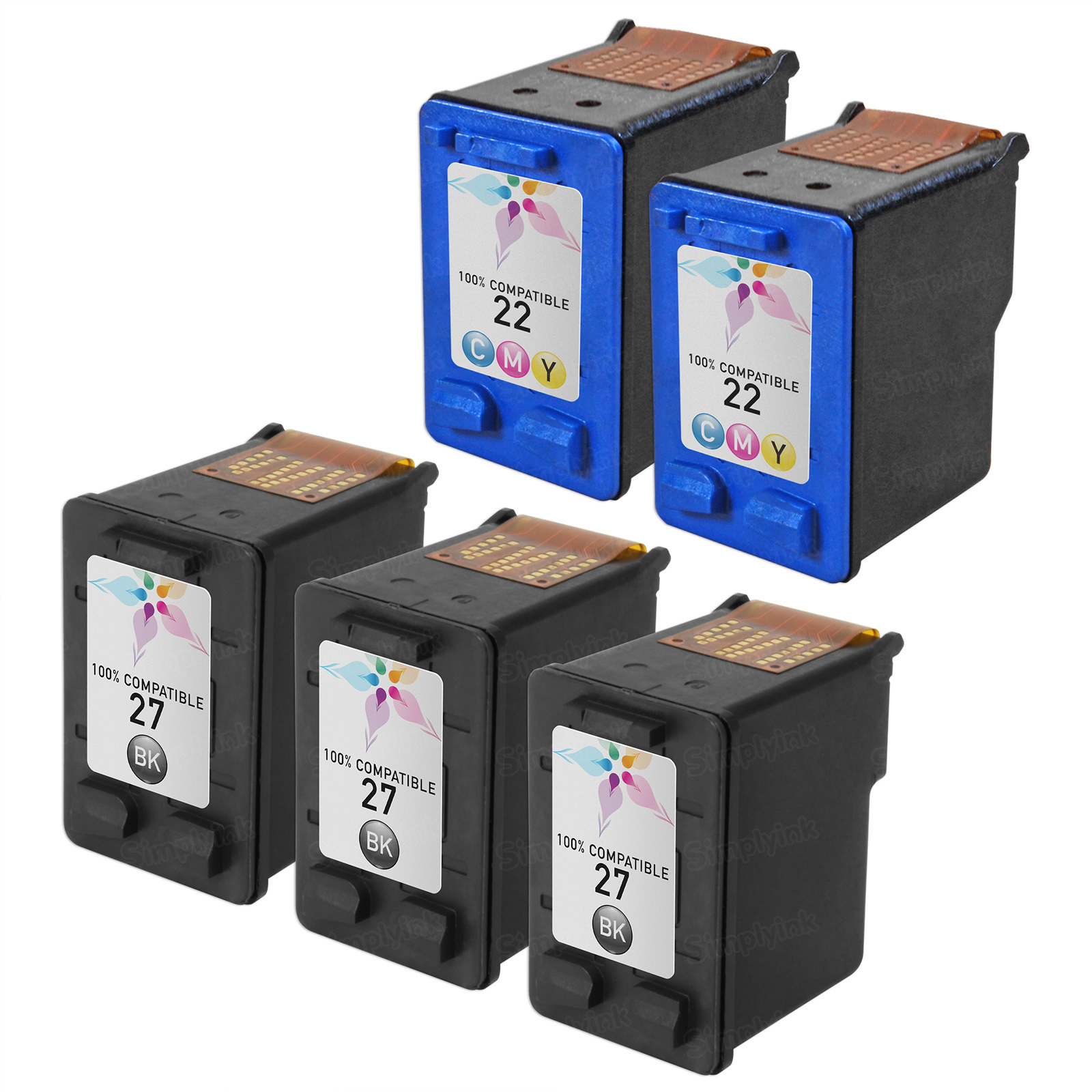 Remanufactured Bulk Set of 5 Ink Cartridges to Replace HP 27 & HP 22 (3 BK, 2 CLR)