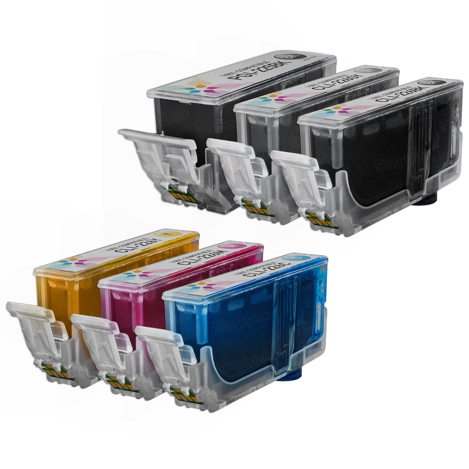 Canon PGI-225 & CLI-226: 1 Pigment Black PGI-225 & 1 Each of CLI-226 Bk, C, M, Y, G (Compatible Ink)