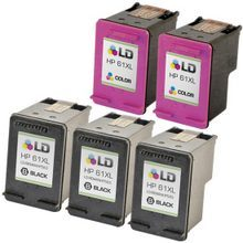 Remanufactured Replacement Bulk Set of 5 Ink Cartridges for HP 61XL - 3 Black (CH563WN) and 2 Color (CH564WN)
