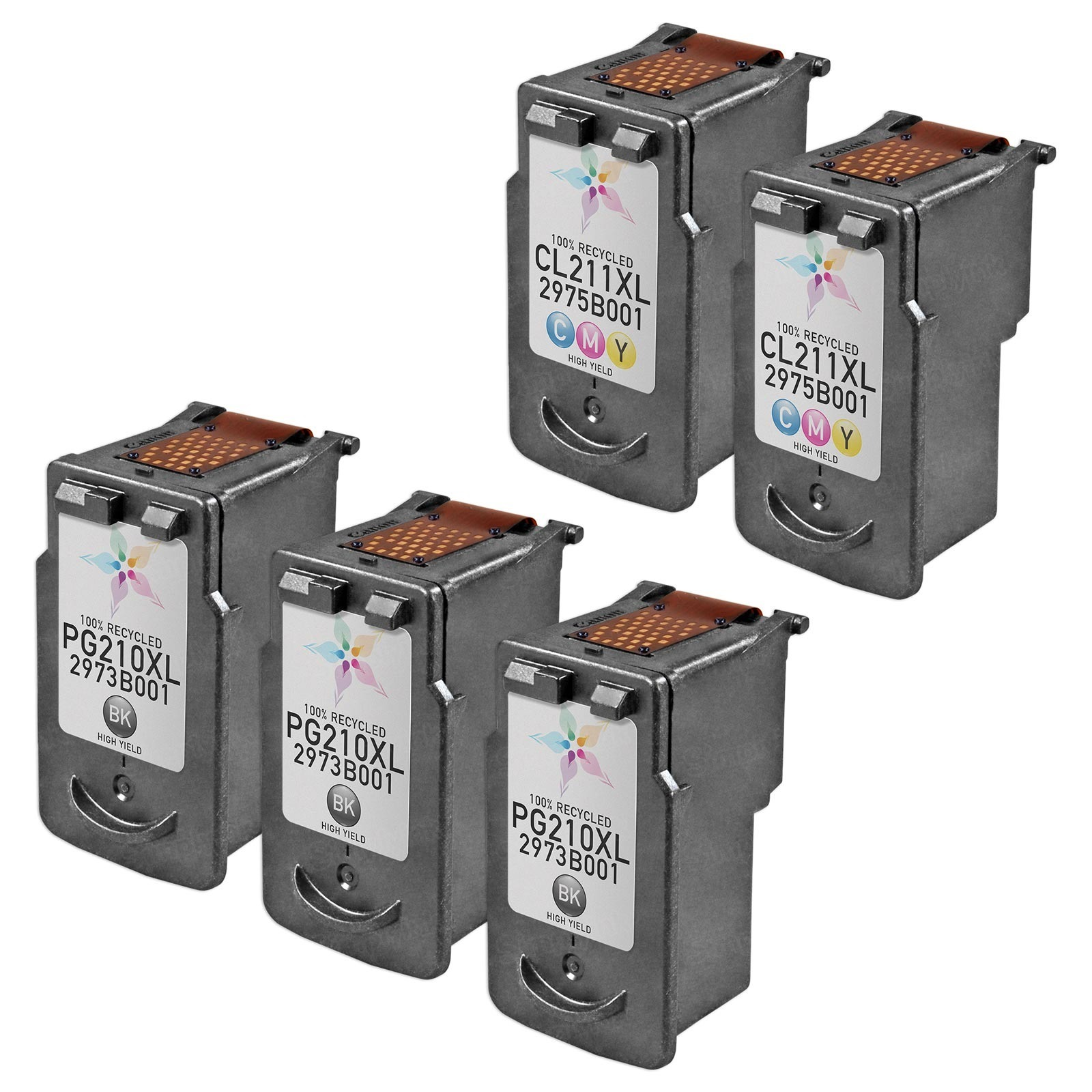 Inkjet Supplies for Canon Printers - Remanufactured Bulk Set of 5 Ink Cartridges 3 Black Canon PG-210XL (2973B001AA) and 2 Color Canon CL-211XL (2975B001AA)