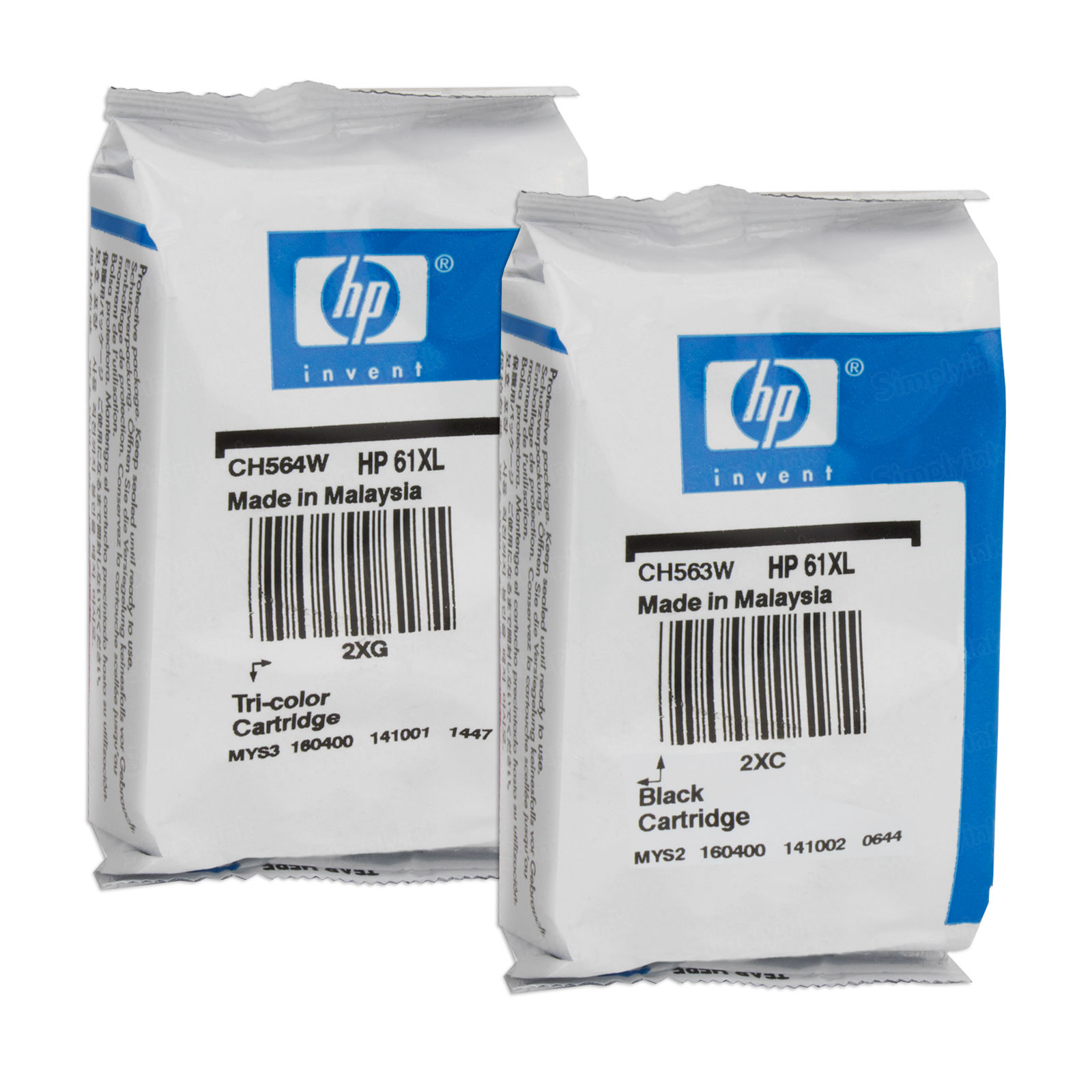 HP 61XL Black & Color Original Ink Cartridge Set - Foil Wrapped