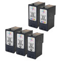 Remanufactured Bulk Set of 5 Ink Cartridges: 3 Black Lexmark 32 and 2 Color 33