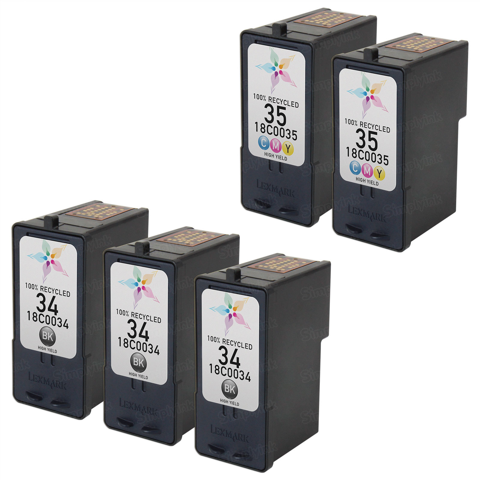 Inkjet Supplies for Lexmark Printers - Remanufactured Bulk Set of 5 Ink Cartridges 3 Black Lexmark 34 (18C0034) and 2 Color Lexmark 35 (18C0035)