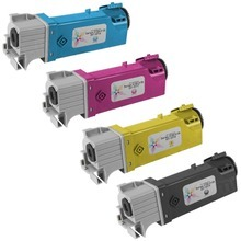 Compatible Alternative 4-Pack High Yield  Laser Toner Cartridge Set for Dell Color Laser 2150, 2155 - 1 Each of: Black, Cyan, Magenta, and Yellow