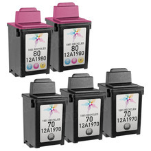 Inkjet Supplies for Lexmark Printers - Remanufactured Bulk Set of 5 Ink Cartridges 3 Black Lexmark 70 (12A1970) and 2 Color Lexmark 80 (12A1980)