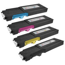 Compatible Alternative to Dell Extra High Yield Laser Toner Cartridge 4-Pack for the Dell Laser C3760 and C3765 - 1 Each of: Black, Cyan, Magenta, and Yellow
