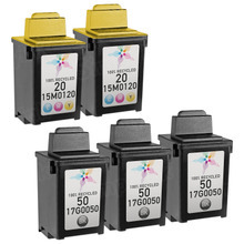 Inkjet Supplies for Lexmark Printers - Remanufactured Bulk Set of 5 Ink Cartridges 3 Black Lexmark 50 (17G0050) and 2 Color Lexmark 20 (15M0120)