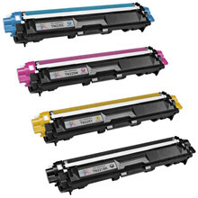 Compatible Brother Set of High Yield Toner Cartridges - 1 Each of: Black, Cyan, Magenta, and Yellow