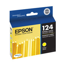 Original Epson 124 Yellow Inkjet Cartridge (T124420), Moderate-Capacity