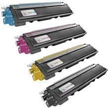 Compatible Brother Set of TN210 Toner Cartridges - 1 Each of: Black, Cyan, Magenta, and Yellow