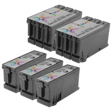 Inkjet Supplies for Dell Printers - Remanufactured Bulk Set of 5 Ink Cartridges 3 Black Dell Y498D (Series 21) and 2 Color Dell Y499D (Series 21)