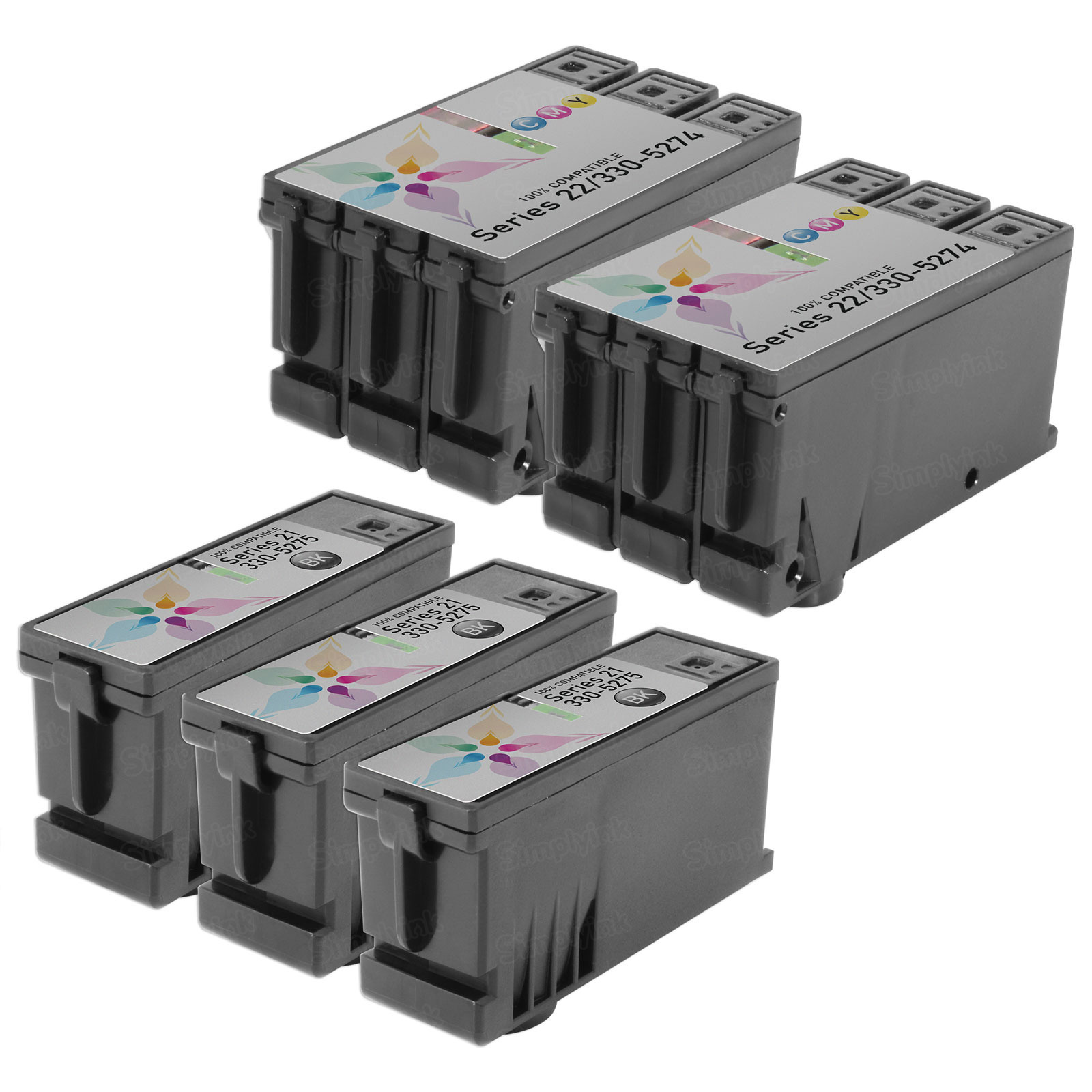 Inkjet Supplies for Dell Printers - Compatible Bulk Set of 5 Ink Cartridges 3 Black Dell Y498D (Series 21) and 2 Color Dell Y499D (Series 21)