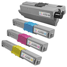 Compatible Okidata Type C17 Laser Toner Cartridge 4-Pack - 1 Each of: Black, Cyan, Magenta, and Yellow
