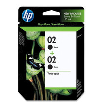 Original HP 02 Black Ink Twin Pack in Retail Packaging, (C9500FN)