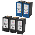 Inkjet Supplies for Dell Printers - Remanufactured Bulk Set of 5 Ink Cartridges 3 Black Dell M4640 (R5956) and 2 Color Dell M4646 (R5974)