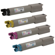 Compatible Okidata C3400n High Yield Laser Toner Cartridge 4-Pack - 1 Each of: Black, Cyan, Magenta, and Yellow