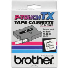 Brother TX2511 Black on White OEM 1 Label Tape