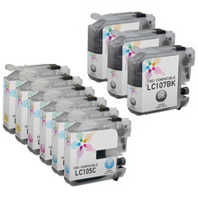 Compatible Brother Bulk Set of 9 LC107 and LC105 Ink Cartridges - 3 Black (LC107BK) and 2 each of: Cyan (LC105C), Magenta (LC105M) and Yellow (LC105Y)