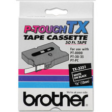 Brother TX3351 White on Black OEM 1/4 Label Tape