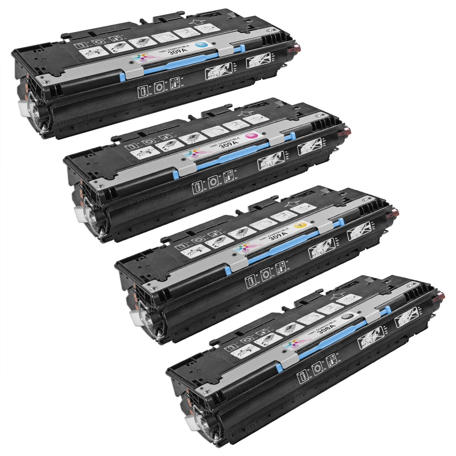 Remanufactured Replacement for HP 309A (Bk, C, M, Y) Set of 4 Toners