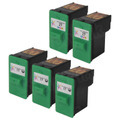 Inkjet Supplies for Lexmark Printers - Remanufactured Bulk Set of 5 Ink Cartridges 3 Black Lexmark 17 (10N0217) and 2 Color Lexmark 27 (10N0227)