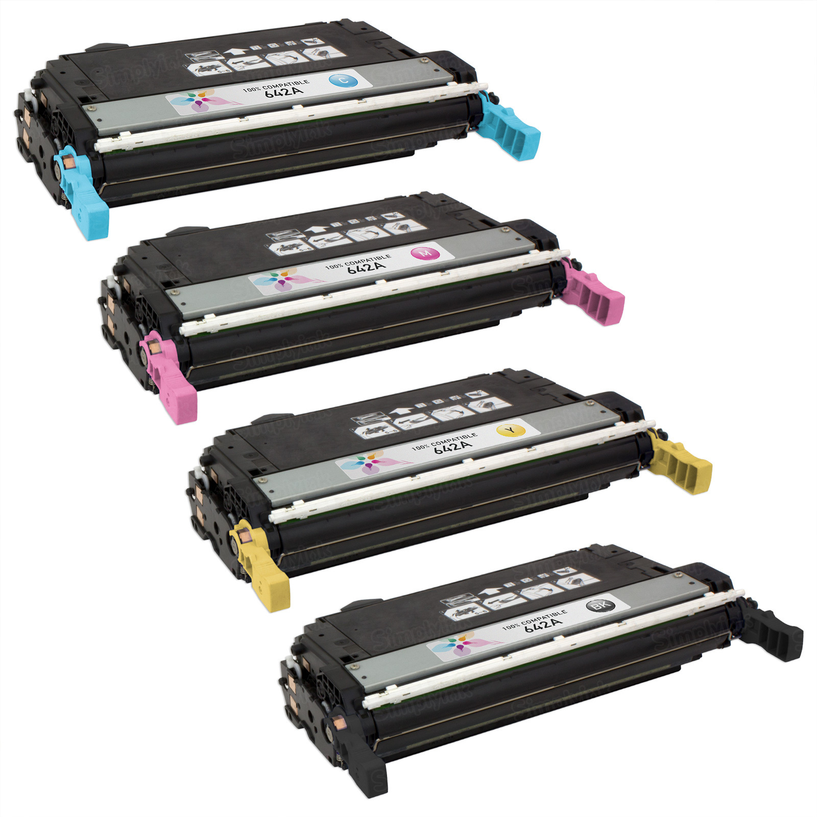 Remanufactured Replacement for HP 642A (Bk, C, M, Y) Set of 4 Toners