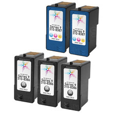 Inkjet Supplies for Dell Printers - Remanufactured Bulk Set of 5 Ink Cartridges 3 Black Dell MW175 (310-8386) and 2 Color Dell MW174 (310-8387)